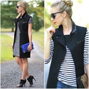 Ann Taylor | Faux Leather Trim Crepe Vest | size S